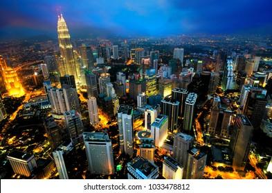 ariel view of kuala lumpur city, capital of Malaysia