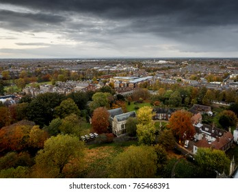 Ariel view looking over the City of York England with autumn colours of trees in a park.