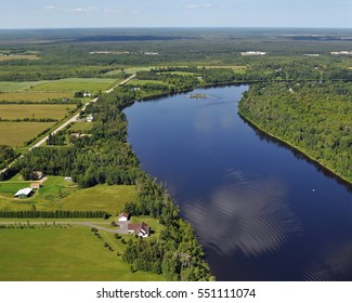 Ariel View of Rainy River - International Falls, Minnesota - Koochiching County