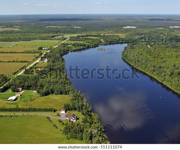 Ariel View of Rainy River - International Falls, Minnesota - Koochiching County