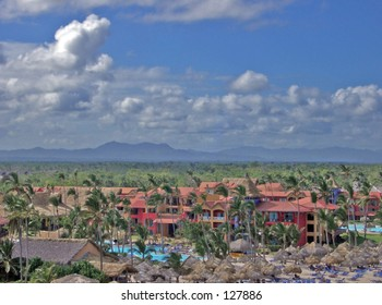 Ariel view of a resort hotel in the Dominican Republic; taken from a parasial.