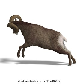 an aries ram with twisted horns. 3D render with clipping path and shadow over white