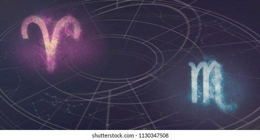 Aries and Scorpio horoscope signs compatibility. Night sky Abstract background.