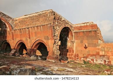 Arinj / Armenia - January 11, 2011: Arinj Caravanserai from the 12th century in Arinj, Armenia
