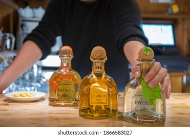 Arinsal, Andorra: 2020 December 02: Patron brand quality tequila in a Mexican restaurant in Andorra in Winter 2020.