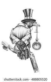 Aristocratic Raven, dressed in a suit and hat. Holding in its beak a pocket watch on a chain. Pencil illustration.