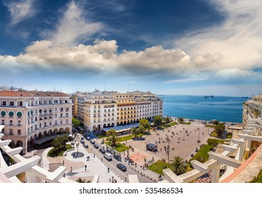 Aristotelous Square Under the Wonderful Blue Sky of Greece, at Thessaloniki city