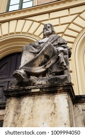Aristotle, the Greek philosopher statue by Ludwig von Schwanthaler (XIX century) in front of the entrance of Bavarian State Library in Munich, Germany