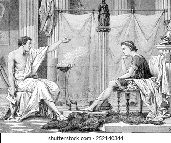 Aristotle and his pupil Alexander the Great, engraving 1885