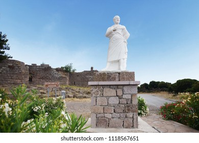 Aristotle statue in front of Assos ancient city in Canakkale, Turkey