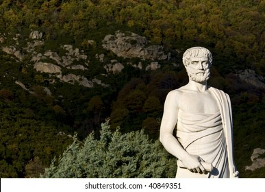Aristotle statue located at Stageira of Greece (birthplace of the philosopher)