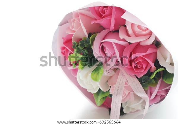 Aritcial rose flower bouquet made by soap fo gift image