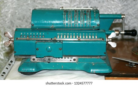 Arithmometer blue. Old vintage rare adding machine.