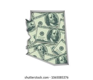 Arizona AZ Money Map Cash Economy Dollars 3d Illustration