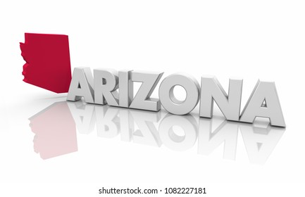 Arizona AZ Red State Map Word 3d Illustration