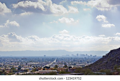 Arizona capital city of Phoenix as seen from Northern Mountain; Backlit