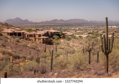 Arizona desert mountain landscape view from Fountain Hills to Phoenix and the Camelback Mountains.