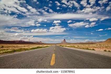 Arizona Highway Panorama with Monument Valley, Utah on the Horizon