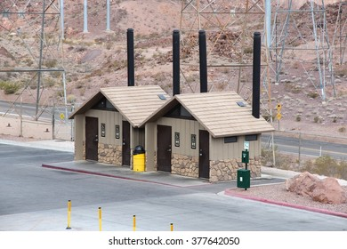 Arizona highway rest stop - accessible restrooms on a parking place.