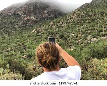 Arizona Hiking Adventures - Taking photos of The Catalina Mountains in Tucson, Arizona with iPhone.