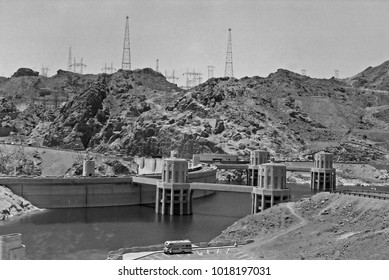 ARIZONA, HOOVER DAM – SEPTEMBER 13,1979: famous power plant and water reservoir. Vintage picture taken in 1979.