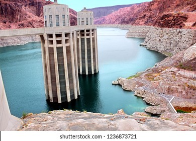 Arizona Intake Towers rise out of Lake Mead at Hoover Dam in the southwestern United States