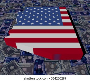 Arizona map flag on dollars illustration