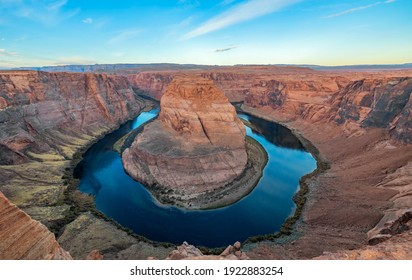 Arizona meander Horseshoe Bend of the Colorado River in Glen Canyon, beautiful landscape, picture for a postcard, big board, travel agency