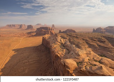 Arizona Monument Valley aerial sky view from balloon