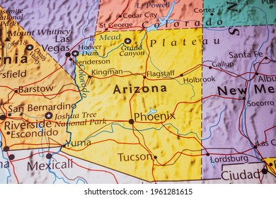 Arizona on the map of USA
