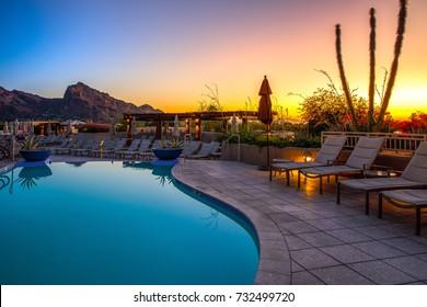 Arizona resort with pool - Shutterstock ID 732499720