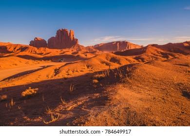 Arizona Scenic Route Through Sandstone Landscape. Monuments Valley.