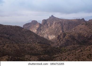 Arizona Sky Mountain landscape from Mount Lemmon Seven Cataracts Vista viewing across Catalina Mountain range to Thimble Peak