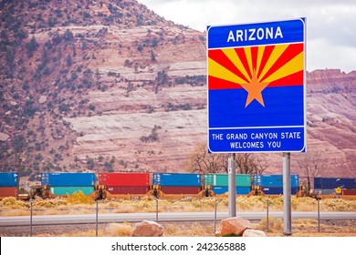 Arizona State Entrance Sign, Highway and the Railroad. Arizona, United States.Welcome in Arizona.