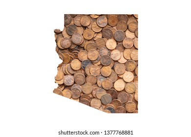 Arizona State Map and Money Concept, Piles of Coins, Pennies