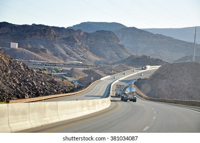 ARIZONA USA - APRIL 17, 2014 : Highway 93 from Hoover Dam to Grand Canyon. U.S. Route 93 (US 93) is a major United States Highway traversing the eastern edge of the state.