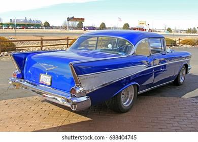 Arizona, USA - Jan 20, 2012: Chevrolet Bel Air 1957 in the parking, back view Arizona, USA