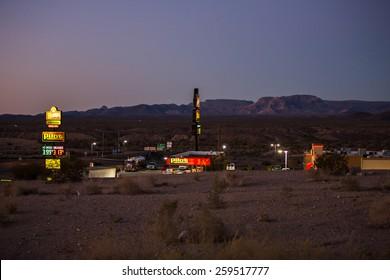 Arizona, USA - January 5: View of a petrol station in the desert near Arizona, USA on January 5, 2015.