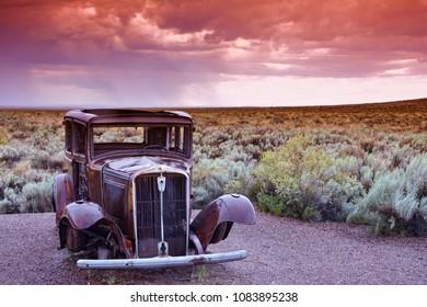 Arizona, Usa - July 22, 2017: Abandoned car near the entrance to the Painted desert, Arizona.