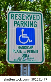 Arizona, USA - july 7 2016 : a sign of reserved parking
