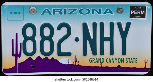 Arizona, USA - july 8 2016 : close up of a numberplate in Page