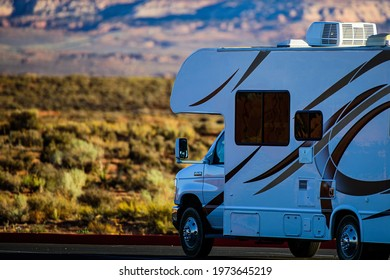 Arizona, USA - May, 2020: RV the American mountains. Travel with the family in the United States. Recreational vehicle