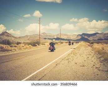 ARIZONA, USA - SEPTEMBER 05: motorbikers in historic Route 66 on September 05, 2015 in Arizona, United States. Route 66 was established on November 11, 1926.