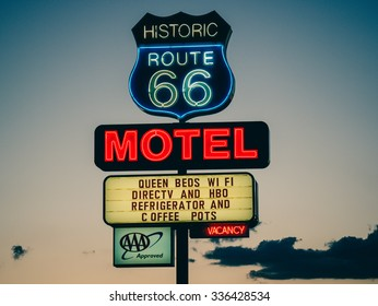 ARIZONA, USA - SEPTEMBER 06: Motel sign in historic Route 66 on September 06, 2015 in Arizona, United States. Route 66 was established on November 11, 1926.