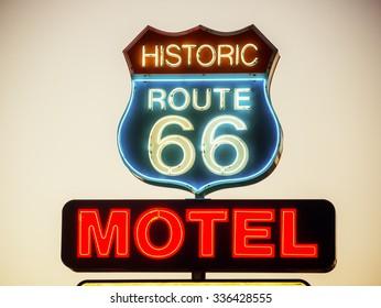 ARIZONA, USA - SEPTEMBER 06: Motel sign in historic Route 66 on September 06, 2015 in Arizona, United States. Route 66 was established on November 11, 1926.