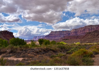 Arizona Vermilion Cliffs From Lees Ferry Park On The Colorado River Where The Grand Canyon Begins