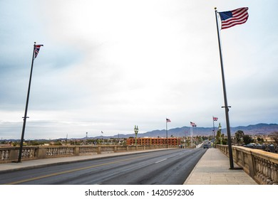 Arizona,America,8th,March,2018.View of London Bridge in Lake Havasu City. It was built in the 1830s and formerly spanned the River Thames in London. It was dismantled in 1967 and relocated to Arizona.