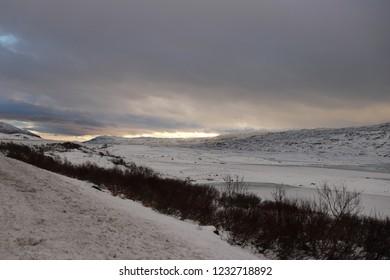 JÄKKVIK,  ARJEPLOG / SWEDEN - NOVEMBER 16 2018: The winter view at the late autumn in Sweden