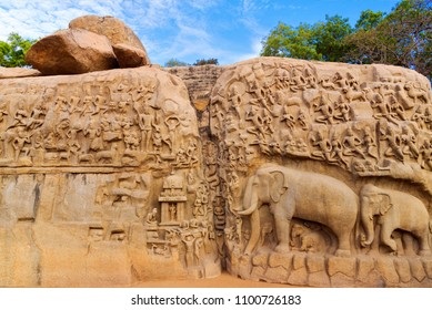 Arjuna's Penance a large rock relief carving in mahabalipuram, Tamil Nadu, India