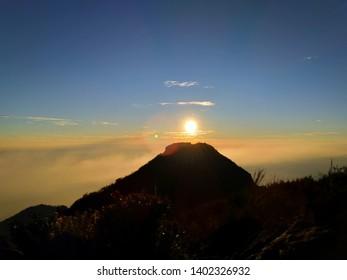 arjuno welirang mountain . sunrise in sumit arjuno mountain.